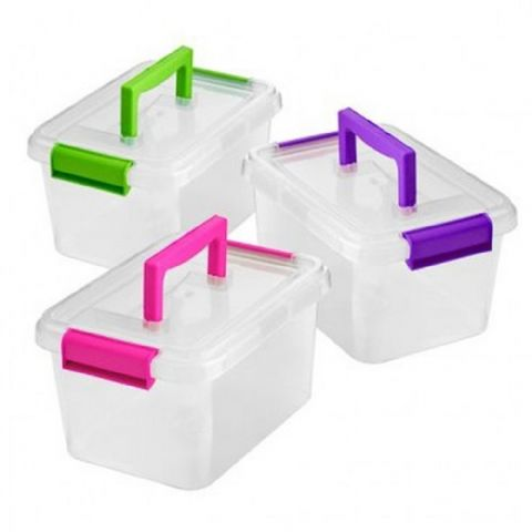 Plastic Food Grade, Hobby & Craft Storage Box with Handle 3L